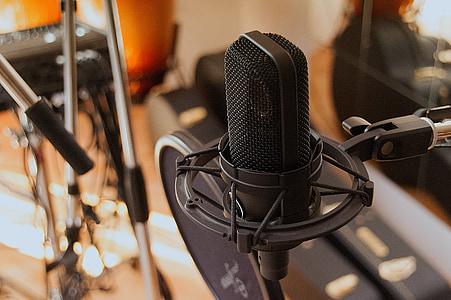 zene, mikrofon, éneklés, fekete, hang, felvétel