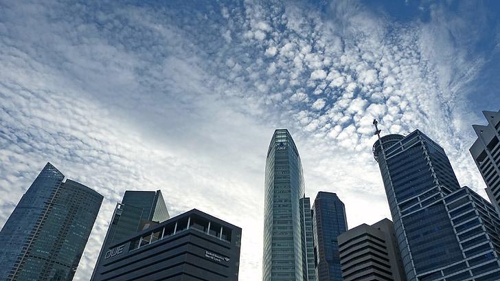 Singapore, grattacielo, Skyline, costruzione, blu, cielo, architettura