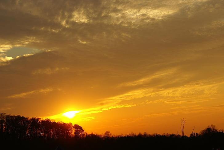 väst, solen, solnedgång, naturen, Utomhus, Sky, skymning