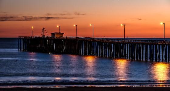 stranden, daggry, skumring, brygge, hav, Pier, sjøen