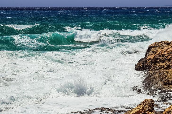 Viharos tenger, sziklás part, hullámok, természet, Szeles, viharos, Időjárás