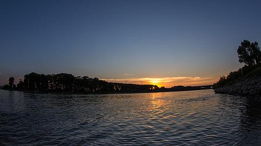 일몰, 라인 강, 강, 물, abendstimmung, 저녁 하늘