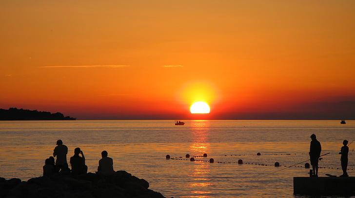 sončni zahod, morje, Istra, Fažana, Hrvaška, sredozemski, Jadransko morje