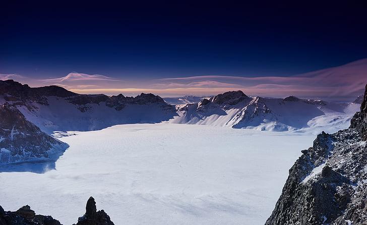 Xina, muntanya Changbai, l'hivern, muntanya, neu, natura, cim de la muntanya