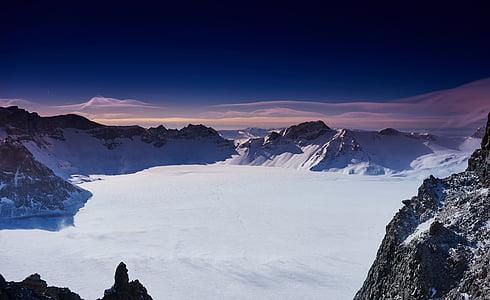 Chiny, Changbai mountain, zimowe, góry, śnieg, Natura, szczyt górski