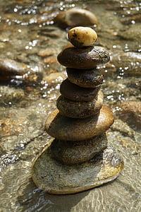 Cairn, balans, Meditation, vatten, stenar, floden, Pebble