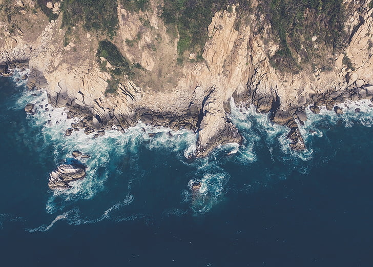 aerial view, cliff, aerial, sea, water, blue, landscape