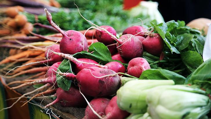 vihannekset, Retiisi, Vihreät, terveys, ruokavalio, terve, wellness