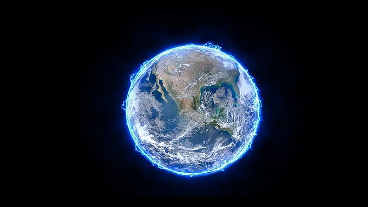électrique, Terre, planète, électricité, énergie, bleu, espace
