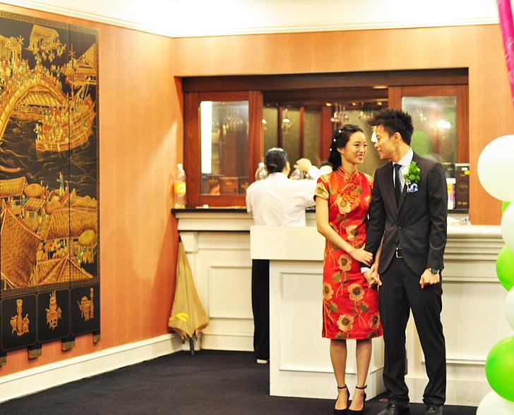wedding, chinese, couple, romance