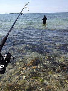 fishing, water, ocean, fishermen, fishing rod, rod, line