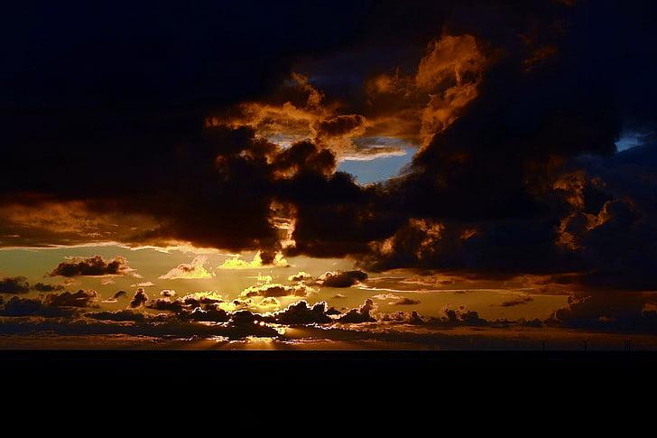 일몰, 저녁 하늘, abendstimmung, 조명, 분위기, 구름, 보 쿰
