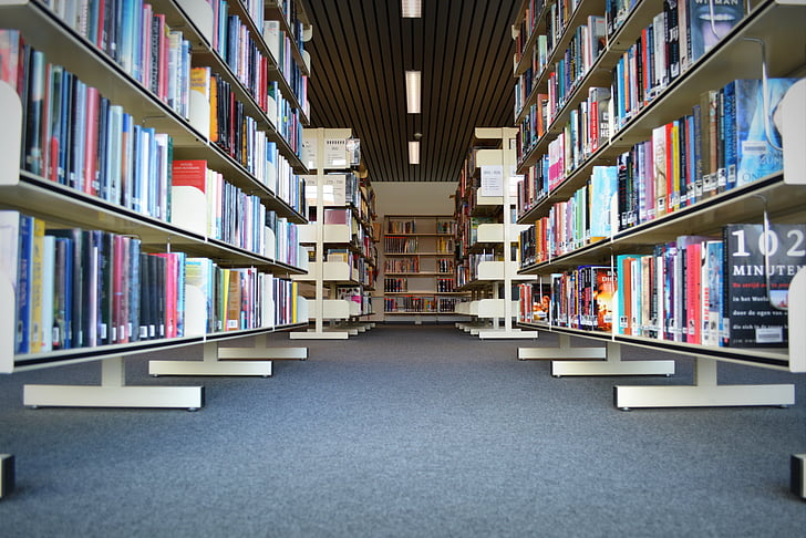 books, library, read, bookmarks, bookshelf, symmetry
