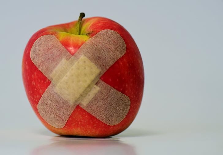 Poma, Parcel·la, ferits, Associació, fruita, aliments, curació