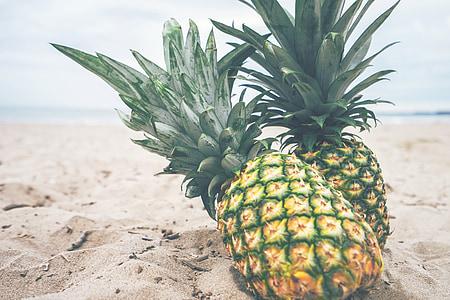 pineapples, fruit, beach, sand, tropical, island, exotic
