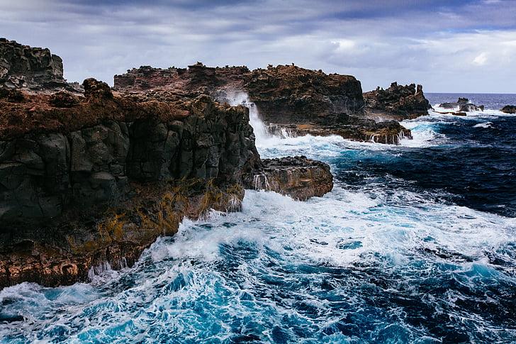person, visar, Ocean, molnet, Rock, havet, Rock - objekt