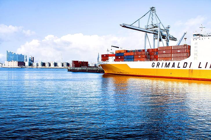 海运集装箱, 码头, 码头, 港口, 港口, 船舶, 运输