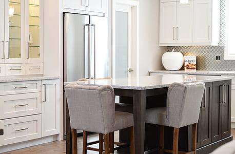 cuina, comptador, cadires, casa, interior, disseny, moderna