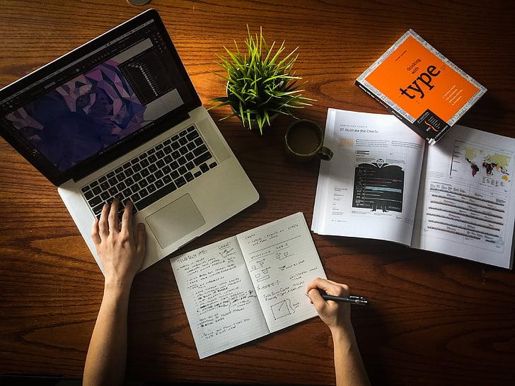 pracovný priestor, počítač, pri práci, podnikanie, Technológia, kancelária, laptop