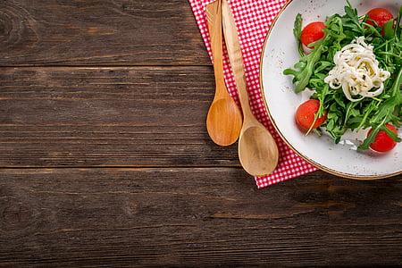 サラダ, バック グラウンド, 食品, おいしい, オリーブ, 木製の背景, 料理