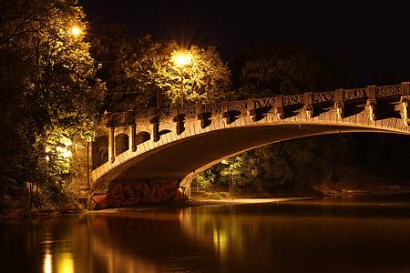 Pont, Pont de Maximilià, Munic, nit, il·luminació, Isar