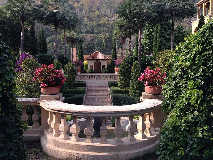 dārza, parks, Toscana, dārza dizains, dārza dekors