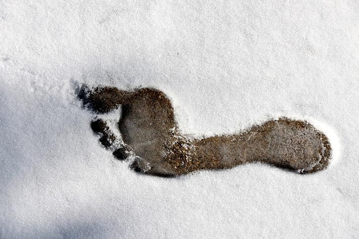 otisak stopala, gola stopala, stopala, strukture, snijeg, hladno, LED