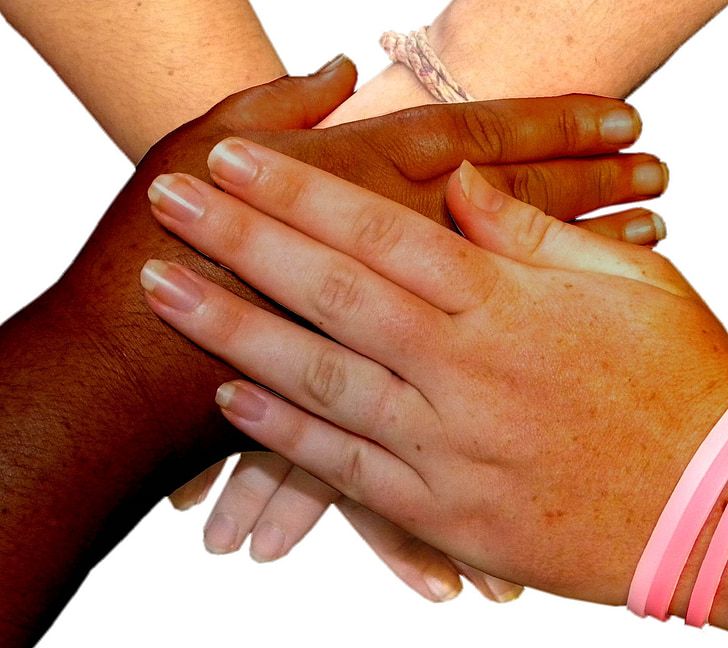 hands, four, overlaying, people, friends, together, team
