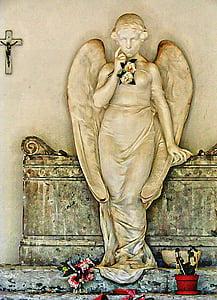 Angel, statue, beton, kirkegård, død, grav, gravsten