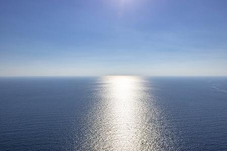 modra, morje, prazna, modro morje, nebo, izvleček, vode