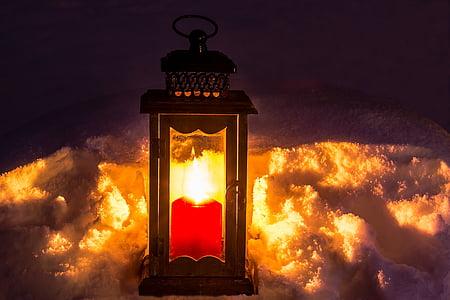đèn lồng, nến, ánh sáng, tâm trạng, ánh nến, tuyết, mùa đông
