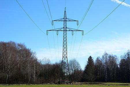 nature, environment, power poles, current, strommast, power line, energy