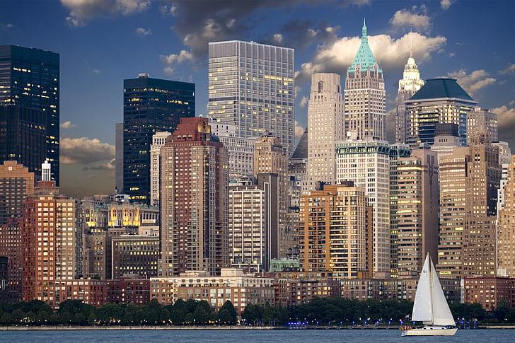 뉴욕, 스카이 라인, 맨하탄, 허드슨, 스카이 스크 래퍼, 도시, 뉴욕 시티