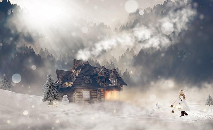 musim dingin, musim dingin, Gadis, Laki-laki, salju, sihir musim dingin, suasana hati
