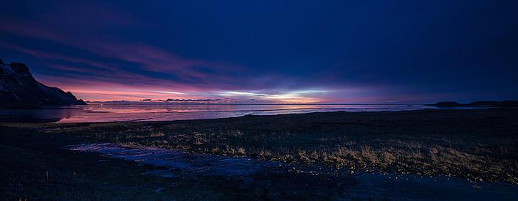 soluppgång, Island, Sky, landskap, Isländska, Panorama, solnedgång