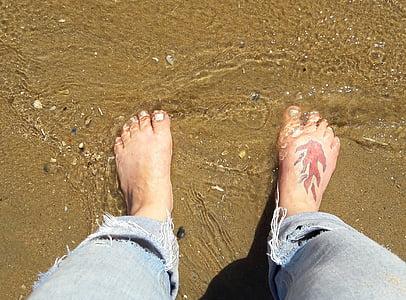 platja, Mar, vacances, sorra, tatuatge, peu humà, cama humana