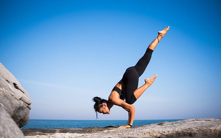 cilvēki, sieviete, joga, Meditācija, fitnesa, veselības, mākoņi