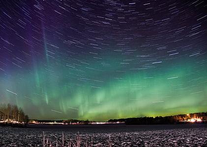 đèn phía bắc, mất hiệu lực thời gian, Aurora borealis, Aurora, năng lượng mặt trời gió, ánh sáng, màu xanh lá cây