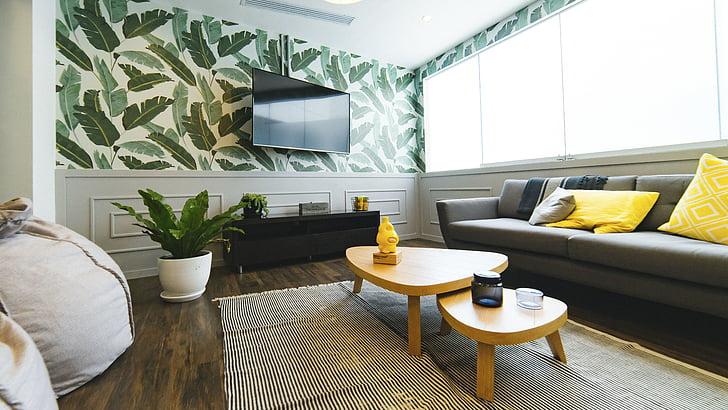 dzīves, istabu, māja, interjers, dizains, dīvāns, spilvens