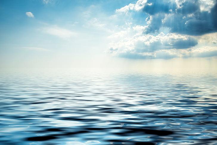 nuvens, mar, céu, fundo de água, Lago, natureza, azul