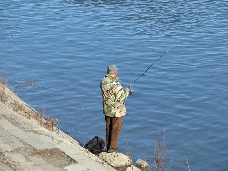 man, river, danube, fish, fisherman, fishing, outdoor