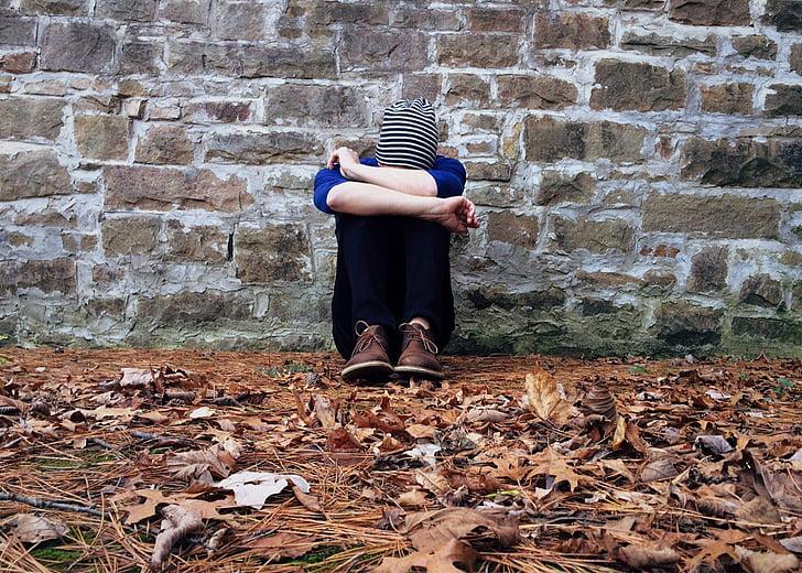solitari, Ocultació, trist, jove, sol, soledat, deprimit
