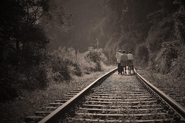 rail road, people walking, walk, railway, employees, returing home, afternoon