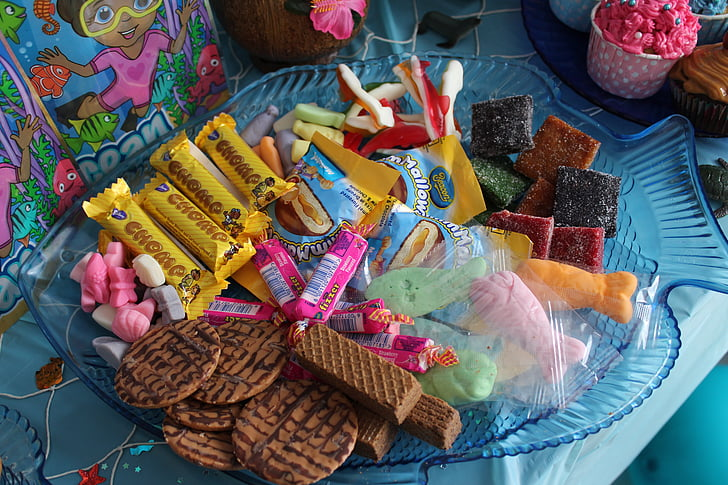 Partit, dolços, festa d'aniversari, dolços, colors, celebració, aniversari