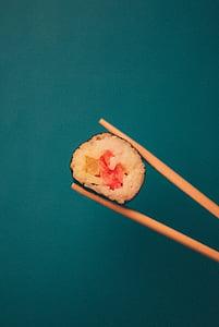 tuunikala, Sushi, pruun, puidust, karbonaad, pulgad, söögipulgad