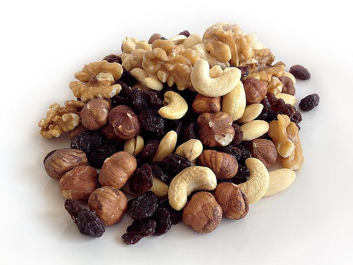 salut, fruits secs, aliments, dieta, Nutrició, ingredient, marró