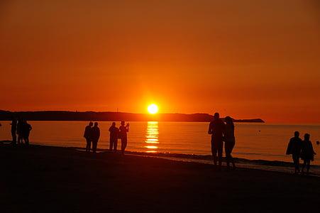 일몰, 해변에 있는 사람들, 비치, 로맨스, 바다