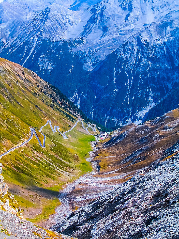 mountains, landscape, pass road, mountain, nature, snow, scenics