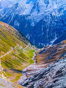muntanyes, paisatge, passar la carretera, muntanya, natura, neu, representacions