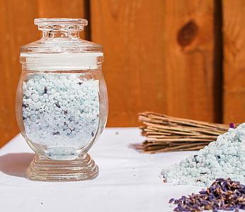 grožio, vonios druskos, Levanda, mediena - medžiaga